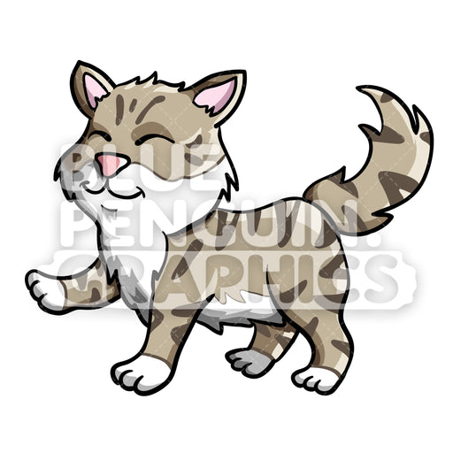Cute Cat Vector Cartoon Clipart Illustration - Blue Penguin Graphics
