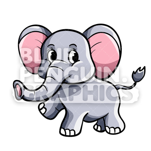 Cute Elephant Vector Cartoon Clipart Illustration - Blue Penguin Graphics