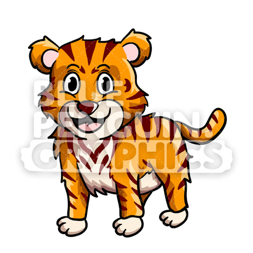 Cute Tiger Vector Cartoon Clipart Illustration - Blue Penguin Graphics