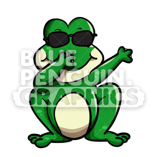 Dabbing Frog Vector Cartoon Clipart Illustration - Blue Penguin Graphics