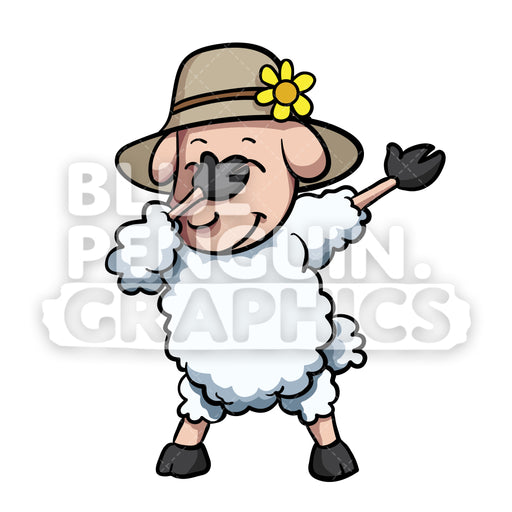 Dabbing Sheep Vector Cartoon Clipart Illustration - Blue Penguin Graphics