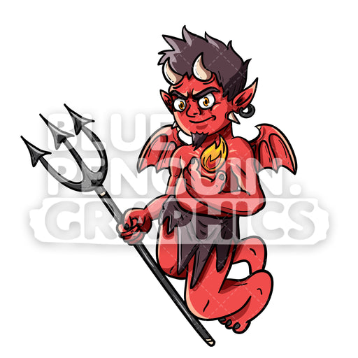 Flying Devil with Horns and Wings Holding Pitchfork Vector Cartoon Clipart Illustration - Blue Penguin Graphics
