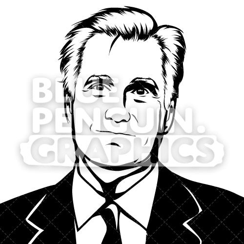Former Governor of Massachusetts Mitt Romney Silhouette - Blue Penguin Graphics