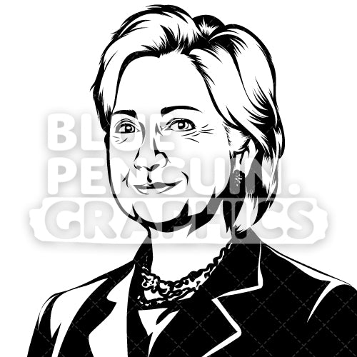 Former First Lady of the United States Hillary Rodham Clinton Silhouette - Blue Penguin Graphics