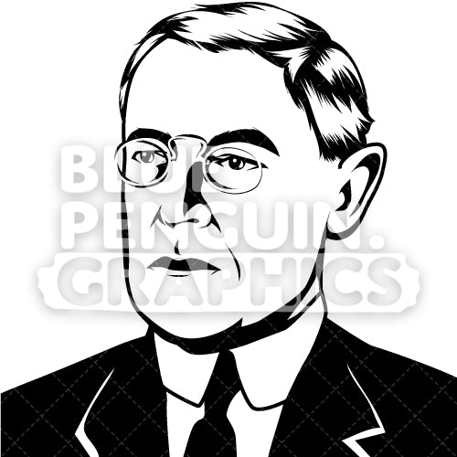 American President Woodrow Wilson Face Silhouette - Blue Penguin Graphics