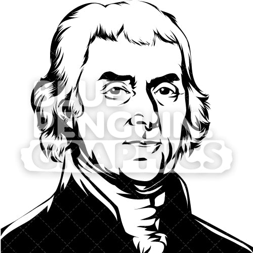 American President Thomas Jefferson Face Silhouette - Blue Penguin Graphics