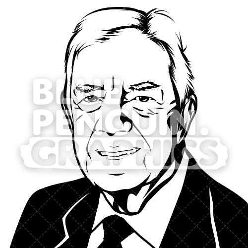 American President Jimmy Carter Face Silhouette - Blue Penguin Graphics
