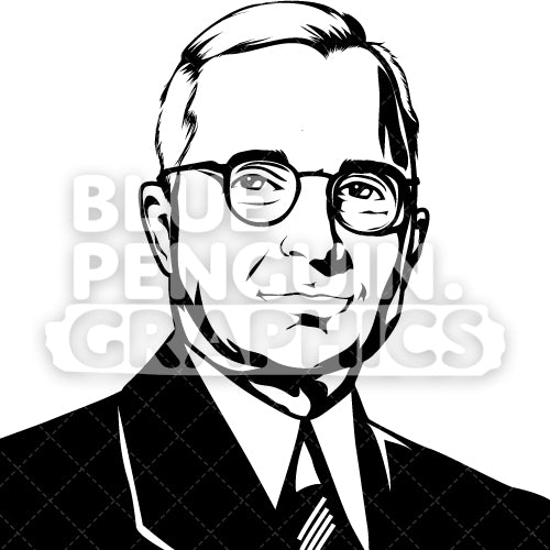 American President Harry S. Truman Face Silhouette - Blue Penguin Graphics