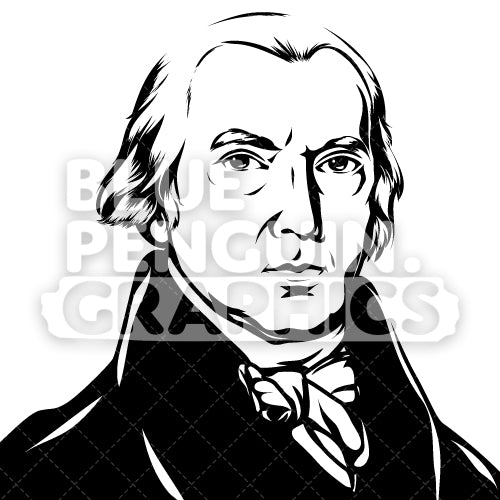 American President James Madison Face Silhouette - Blue Penguin Graphics