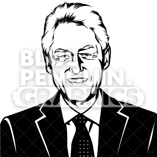 American President Bill Clinton Silhouette - Blue Penguin Graphics