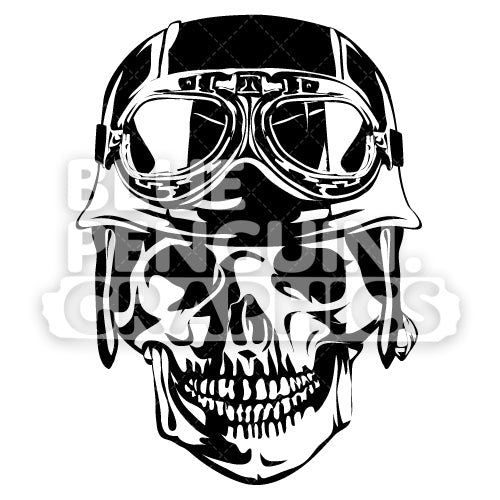 Skull with Helmet Silhouette - Blue Penguin Graphics