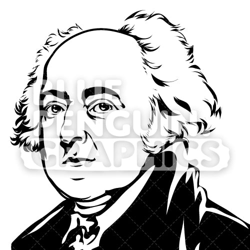American President John Adams Face Silhouette - Blue Penguin Graphics
