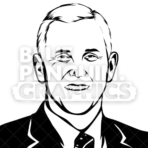 Vice President of the United States Mike Pence Silhouette - Blue Penguin Graphics