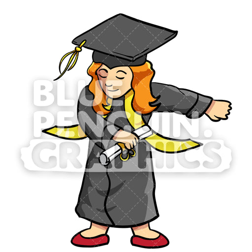 Graduate Flossing Girl Vector Cartoon Clipart Illustration - Blue Penguin Graphics