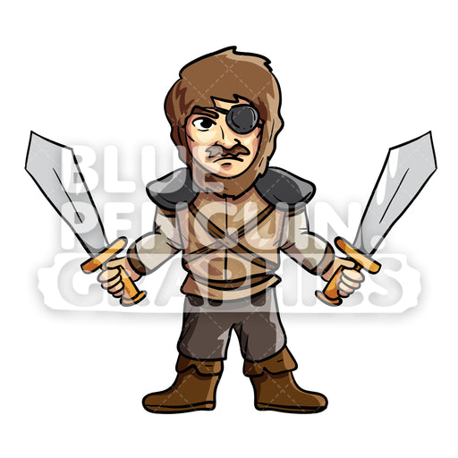 Harold Cool Viking with Two Swords Vector Cartoon Clipart Illustration - Blue Penguin Graphics