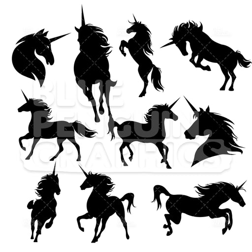 Unicorns Silhouettes Bundle Set Vector Cartoon Clipart Illustration - Blue Penguin Graphics