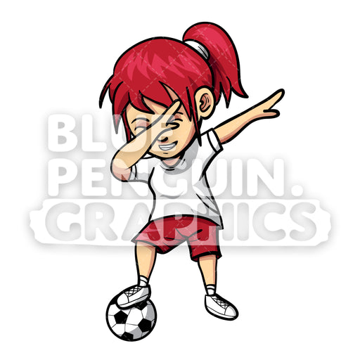 Soccer Dabbing Girl Vector Cartoon Clipart Illustration - Blue Penguin Graphics