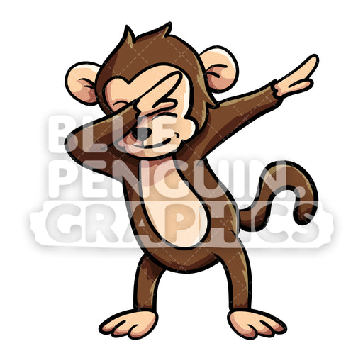 Monkey Dabbing Vector Cartoon Clipart Illustration - Blue Penguin Graphics