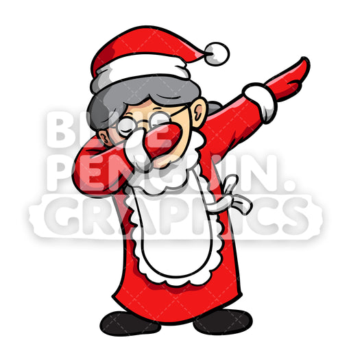 Mrs Santa Dabbing Christmas Vector Cartoon Clipart Illustration - Blue Penguin Graphics