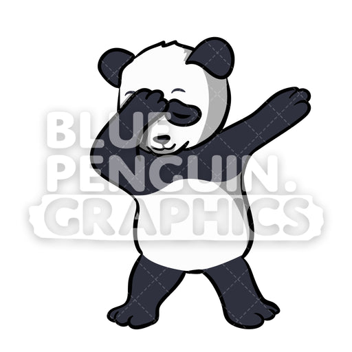Panda Dabbing Vector Cartoon Clipart Illustration - Blue Penguin Graphics