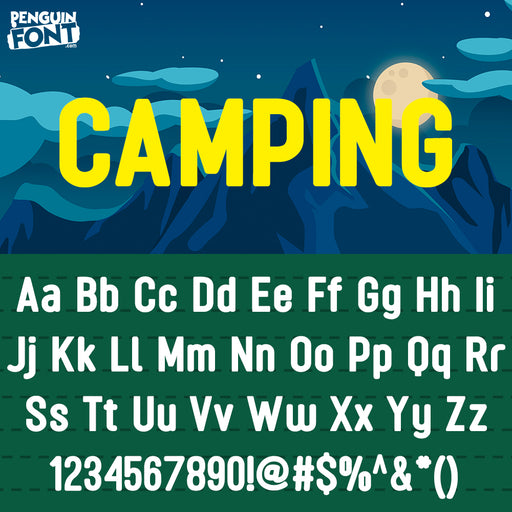 Penguin Camping Font - Blue Penguin Graphics