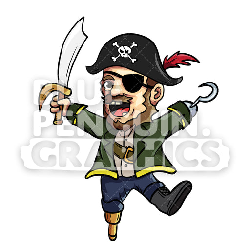 Pirate Cartoon Vector Cartoon Clipart Illustration - Blue Penguin Graphics