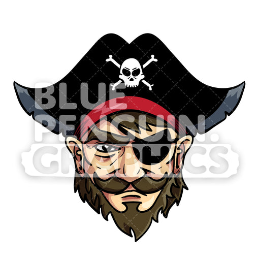 Pirate Head Vector Cartoon Clipart Illustration - Blue Penguin Graphics