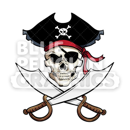Pirate Skull Head Vector Cartoon Clipart Illustration - Blue Penguin Graphics