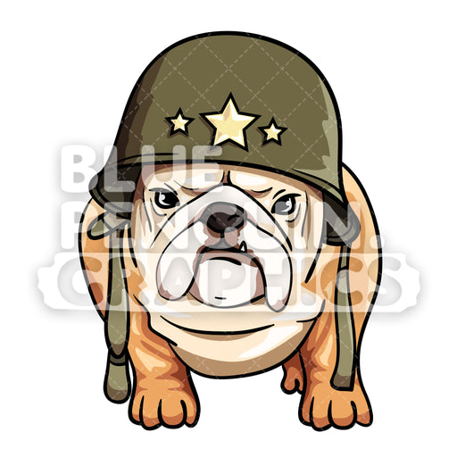 Bulldog Dog Wearing Military Helmet Vector Cartoon Clipart Illustration - Blue Penguin Graphics
