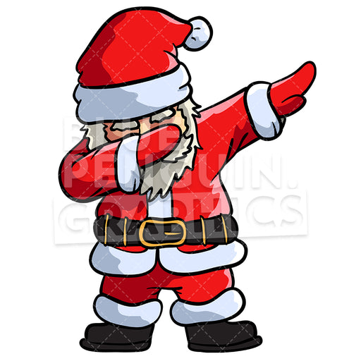 Santa Dabbing Christmas Vector Cartoon Clipart Illustration - Blue Penguin Graphics