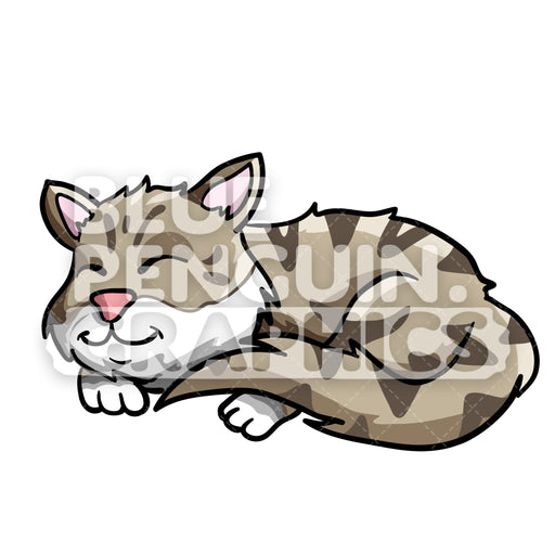 Sleeping Cat Vector Cartoon Clipart Illustration - Blue Penguin Graphics