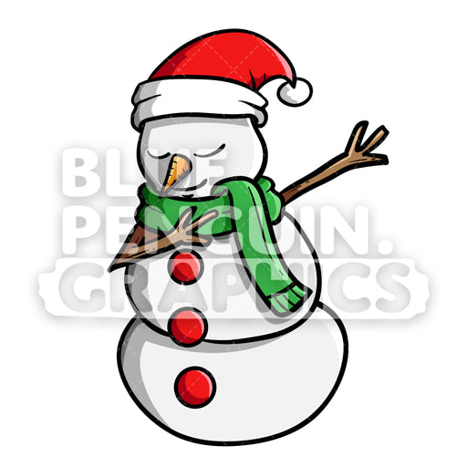Snowman Dabbing Christmas Vector Cartoon Clipart Illustration - Blue Penguin Graphics