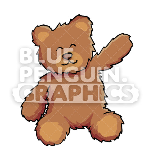 Teddy Bear Vector Cartoon Clipart Illustration - Blue Penguin Graphics