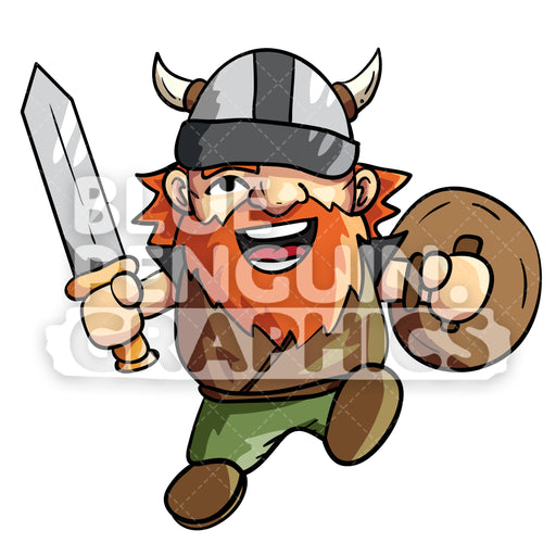 Troy Cute Viking with Sword and Shield Vector Cartoon Clipart Illustration - Blue Penguin Graphics