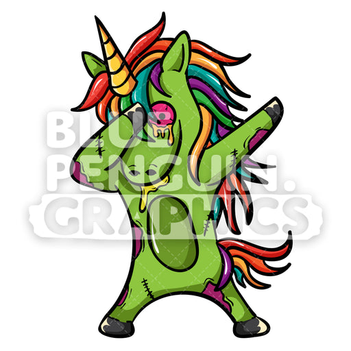 Unicorn Zombie Dabbing Vector Cartoon Clipart Illustration - Blue Penguin Graphics