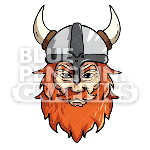 Viking Face Vector Cartoon Clipart Illustration - Blue Penguin Graphics