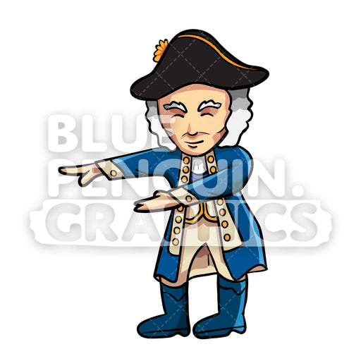 Washington Floss Dance Vector Cartoon Clipart Illustration - Blue Penguin Graphics