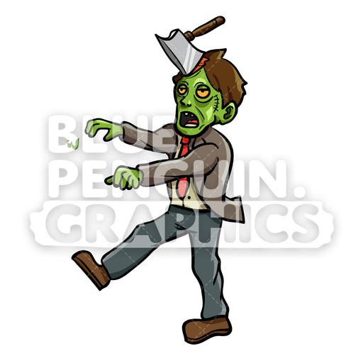 Zombie Axe Vector Cartoon Clipart Illustration - Blue Penguin Graphics