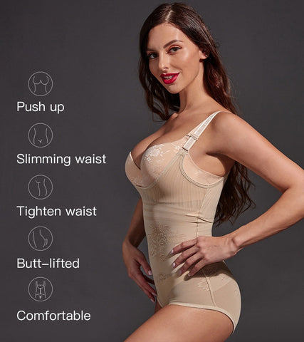 floral full body shaper full body shaper with straps and beautiful flower patterns by Aphrodite Shapewear
