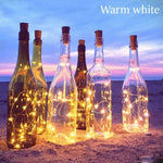 10 LED Solar Cork Shaped Light String Copper Garland for Christmas Holiday Party Wedding Decoration