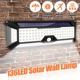 66 or 136 LED 270° Outdoor Solar Lamp with Motion Detector
