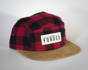 Red Plaid Suede Brim 5 Panel