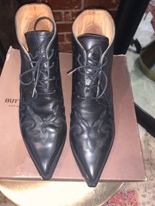 Buttero Black Cowboy tie up bootie - Size 39 - $200