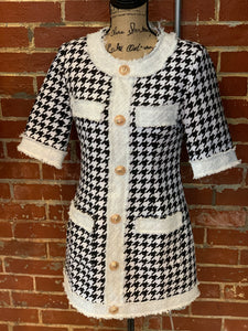 Houndstooth Tweed Dress - S - $55