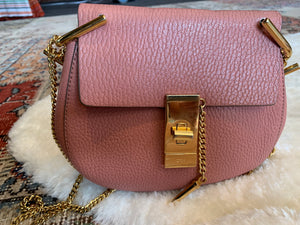CHLOE Grained Lambskin Mini Drew Crossbody Dreamy Pink