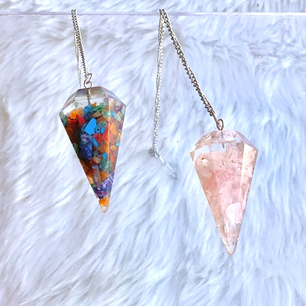 Resin / Orgone like Rose Quartz Pendulum