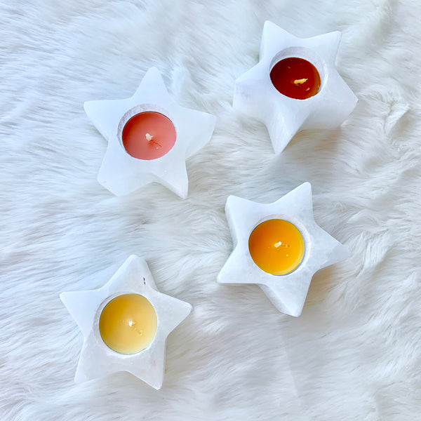 Selenite Crystal Star Votive