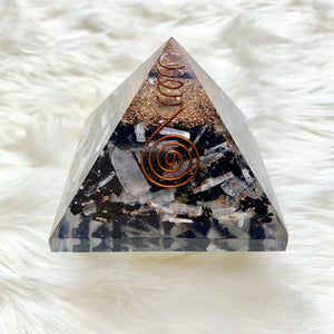 Selenite and Black Tourmaline Orgone Pyramid