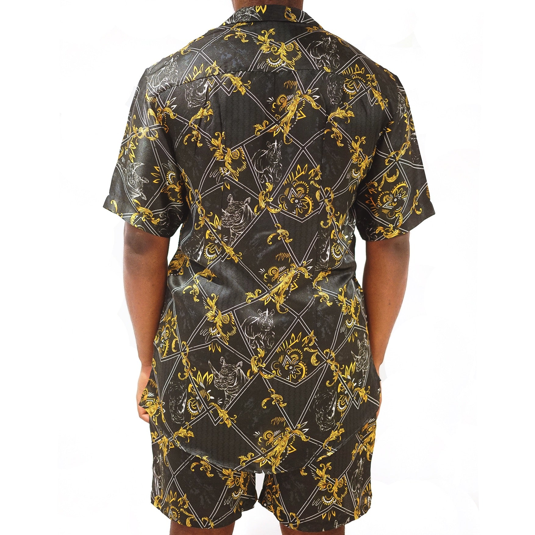 Men's Black Silk Shirt; Short Sleeve Printed Shirt