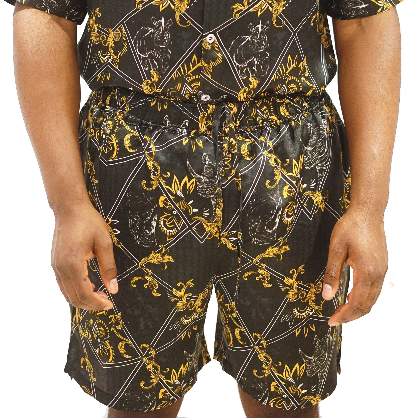 Mens Black Shorts, Printed, Silk Co-ord, Two-piece